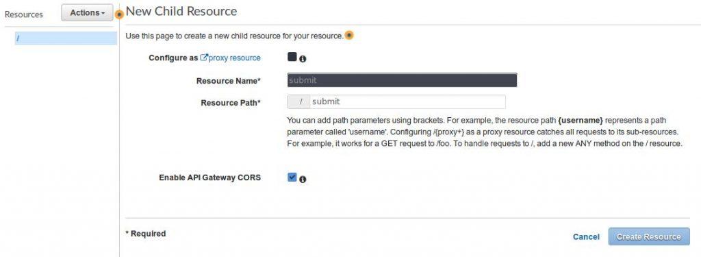 aws serverless HTML contact form